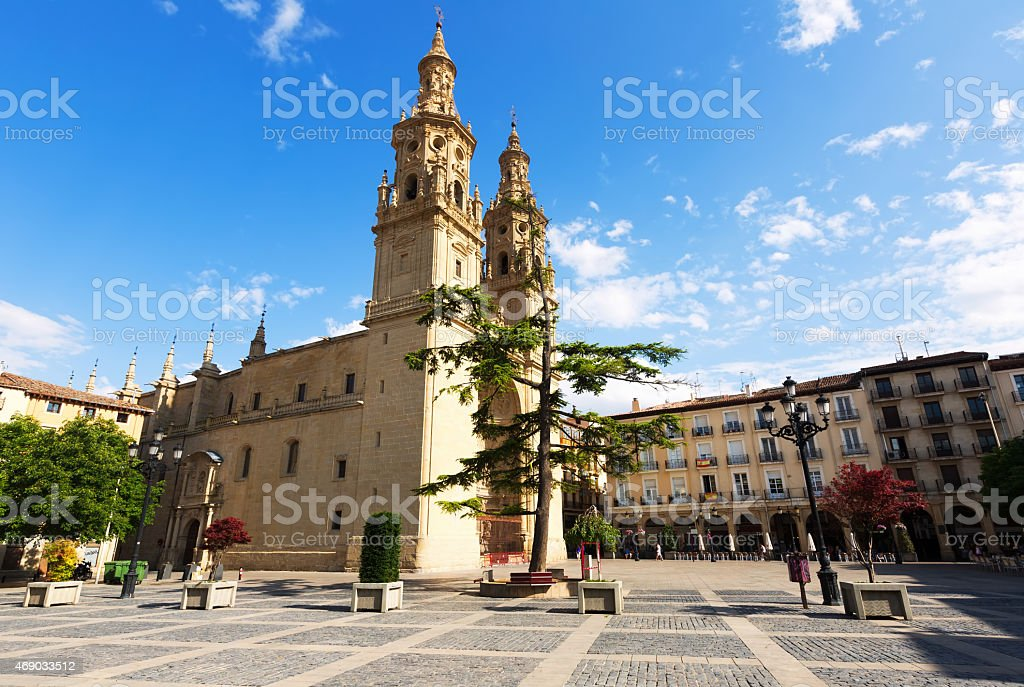 Co-Cathedral of Saint Maria de la Redonda in  Logrono stock photo