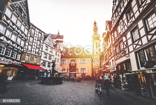 The market square of Cochem, , Bustling Market, and Tower, district of Cochem-Zell, Rhineland Palatinate, Germany, Europe