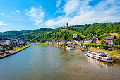 Cochem town aerial panoramic view in Moselle valley, Germany
