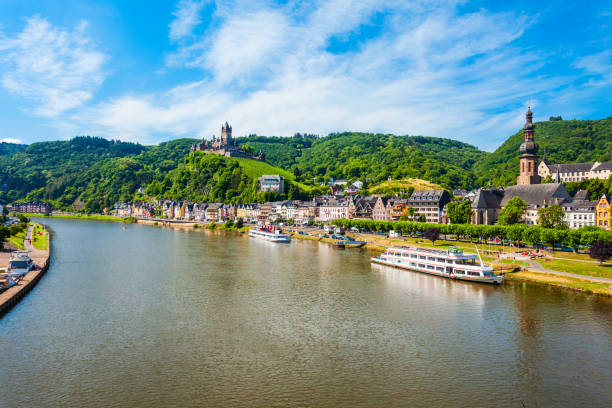 Cochem town aerial view, Germany stock photo