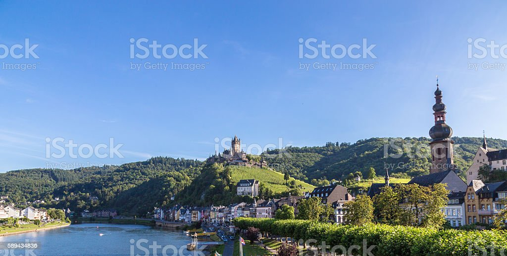 Cochem town on the Mosel Panorama stock photo