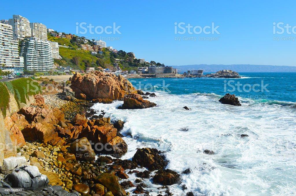 Cochoa Bay in Viña del Mar, Chile stock photo