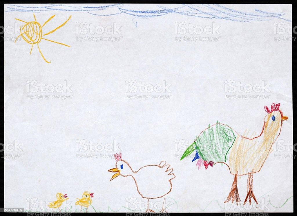 Grifo Gallina Y Dos De Las Gallinas Dibujo De Niño Foto De Stock Y
