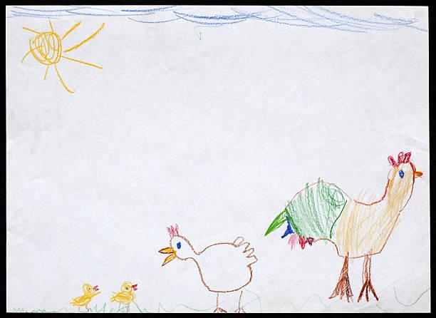 ziehe, henne und zwei hühner. kinderzeichnung. - lustiges huhn bilder stock-fotos und bilder