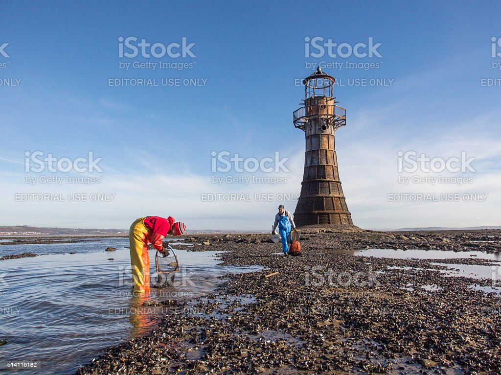Cockle Pickers - Gower stock photo