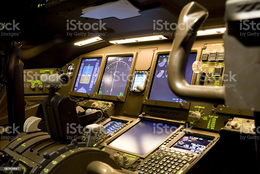 Cockpit at Night royalty-free stock photo