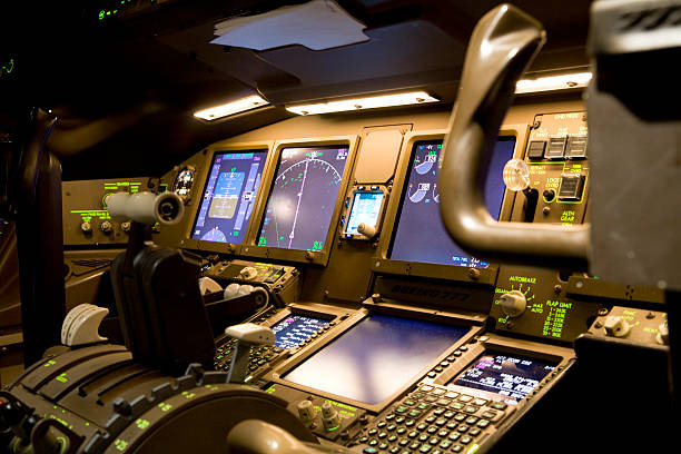 Cockpit at Night stock photo