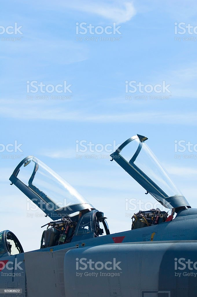 Cockpit canopies on fighter aircraft royalty-free stock photo