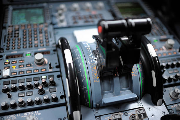 cockpit detail airbus a320 - cockpit stock photos and pictures