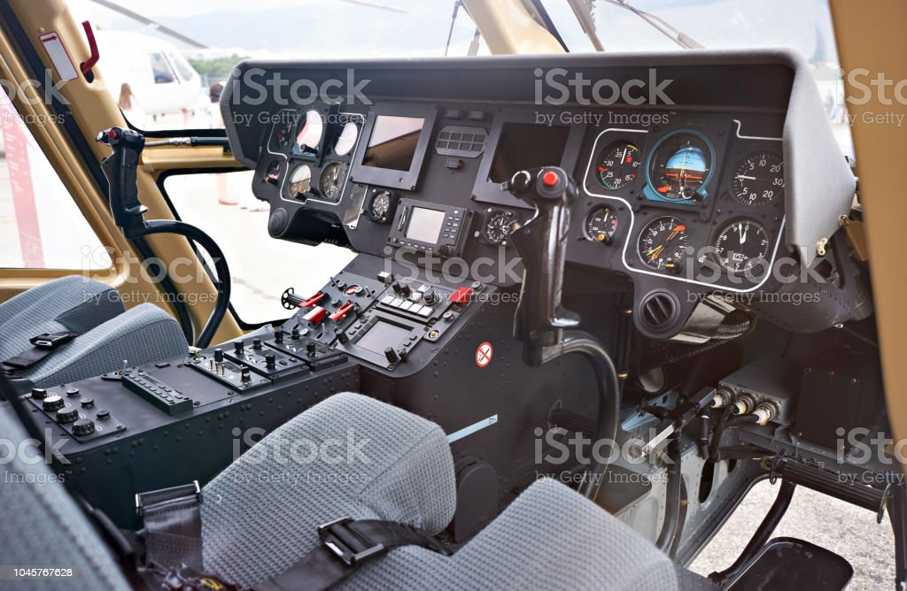 Cockpit helicopter pilot dashboard stock photo