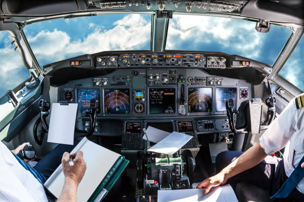 cockpit in cloudy sky - cockpit stock photos and pictures