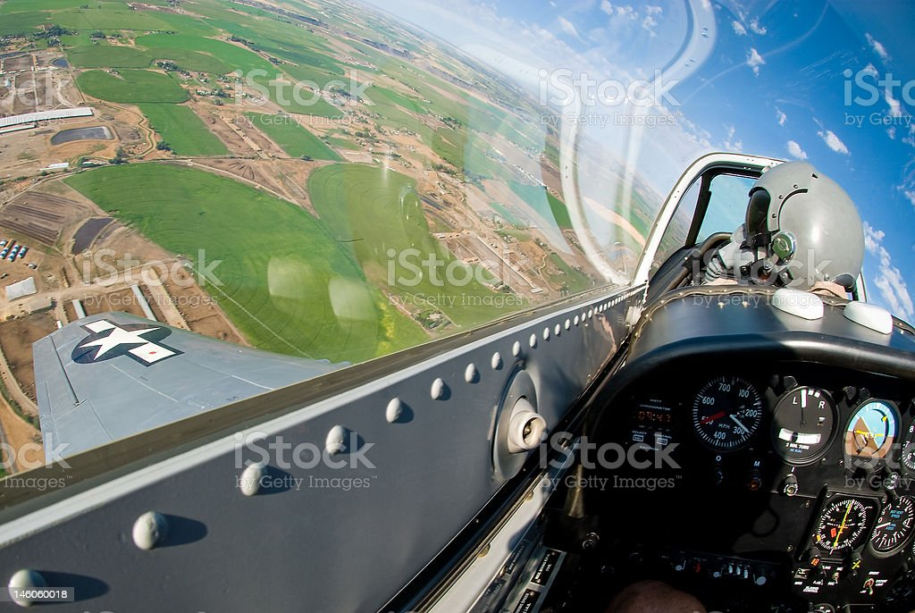 P-51 cockpit in flight stock photo