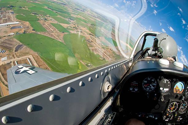 P-51 cockpit in flight stock photo