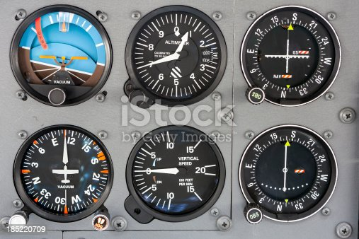 instrument panel from the cockpit of a small aircraft