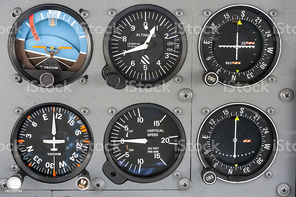 Cockpit instrument panel stock photo