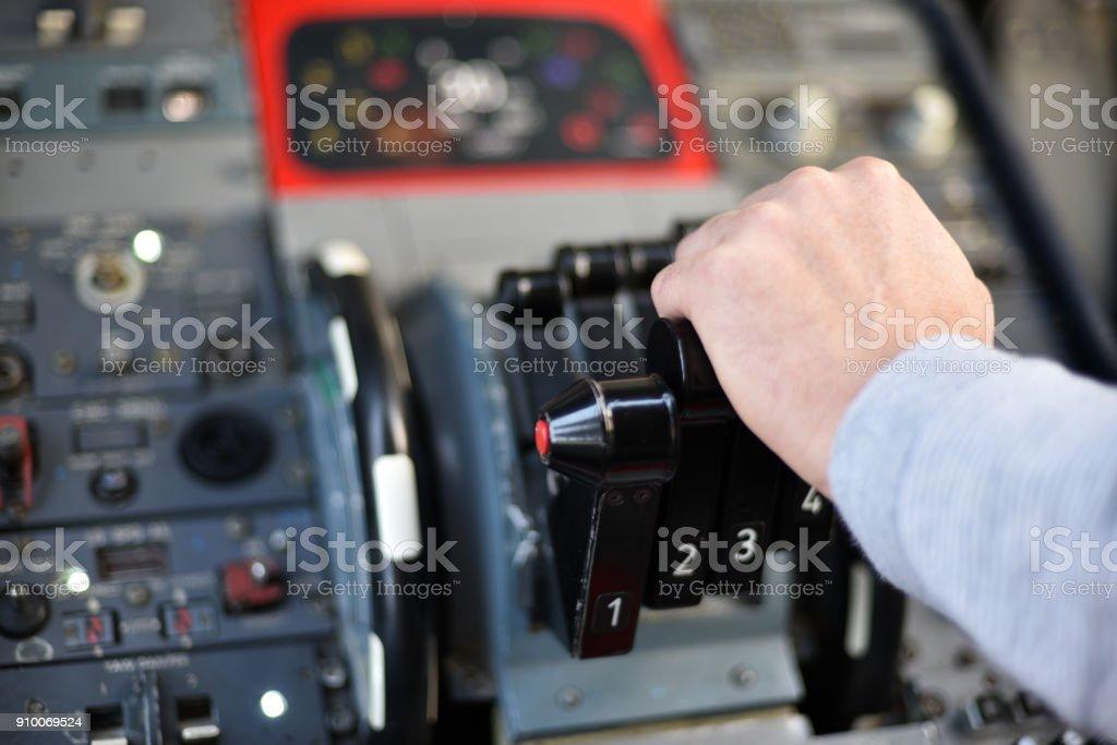 Cockpit instrument panel stock photo