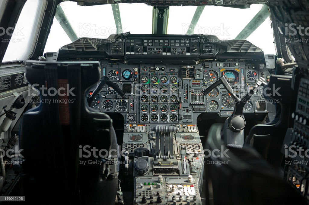 Cockpit interior of a supersonic Air Liner royalty-free stock photo
