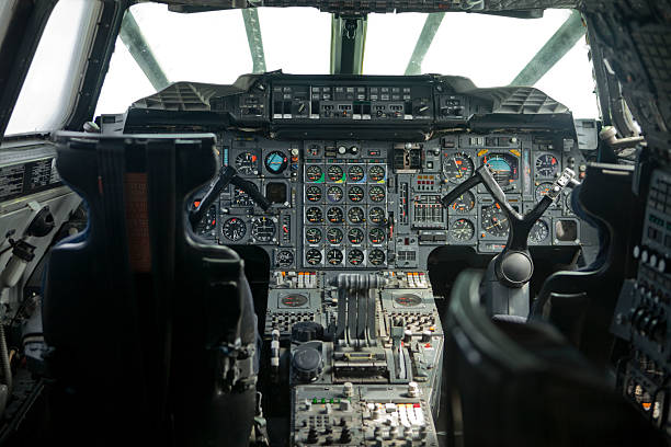 Cockpit interior of a supersonic Air Liner Vintage cockpit interior supersonic airplane stock pictures, royalty-free photos & images