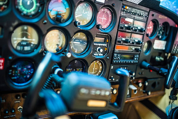 cockpit interior of an airplane - cockpit stock photos and pictures