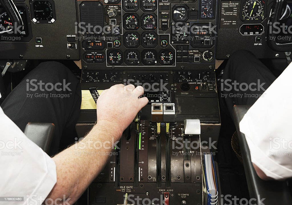 Cockpit Interior of ATR 72-500 in Take off position . stock photo