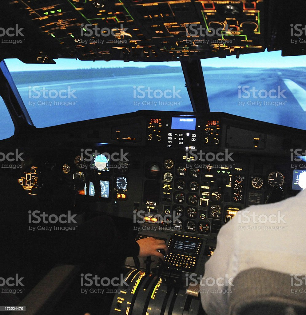 Cockpit of A Flight Simulator on take off stock photo