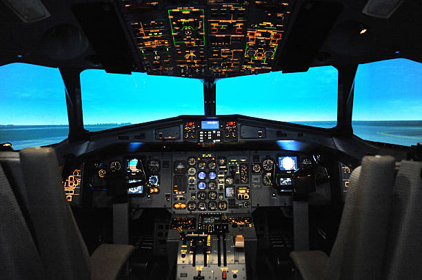 cockpit of a flight simulator - cockpit stock photos and pictures