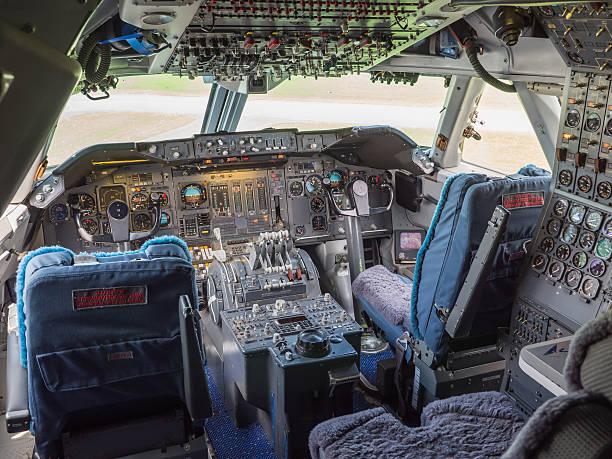 Cockpit of a jumbo jet stock photo