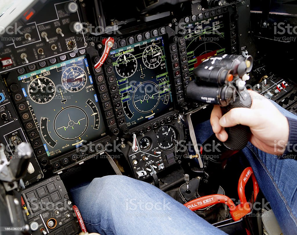 Cockpit of a military aircraft stock photo