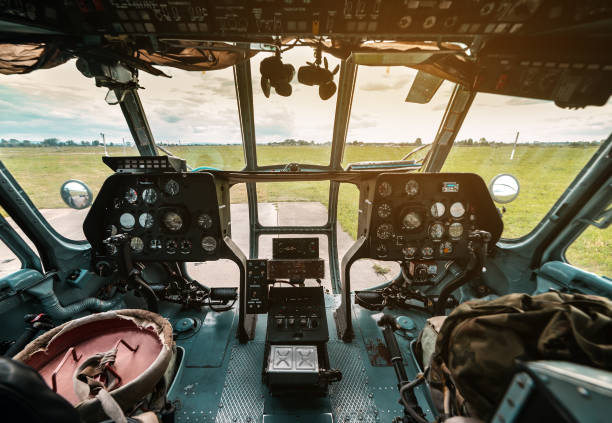 cockpit of a military helicopter stock photo