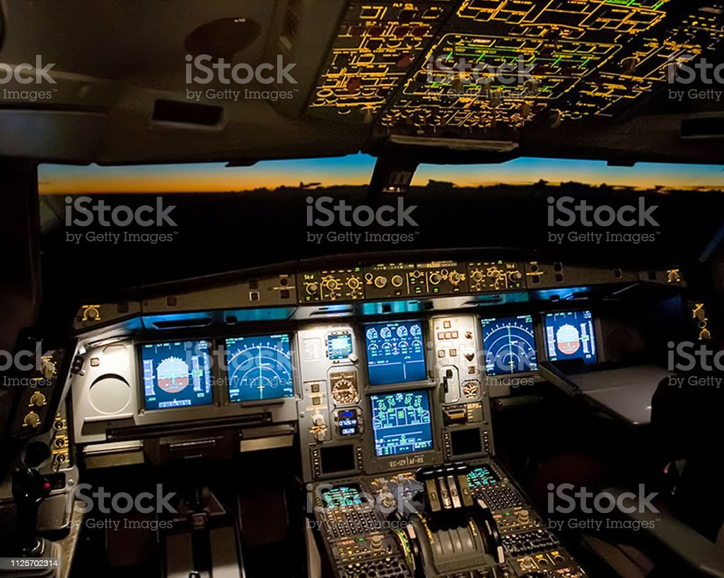 Cockpit of a passenger plane. View from the cockpit during stock photo