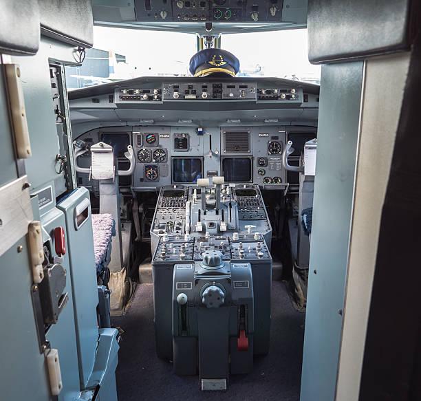 Cockpit of a vintage airliner stock photo