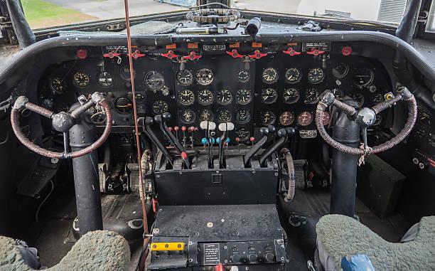 Cockpit of a vintage plane stock photo