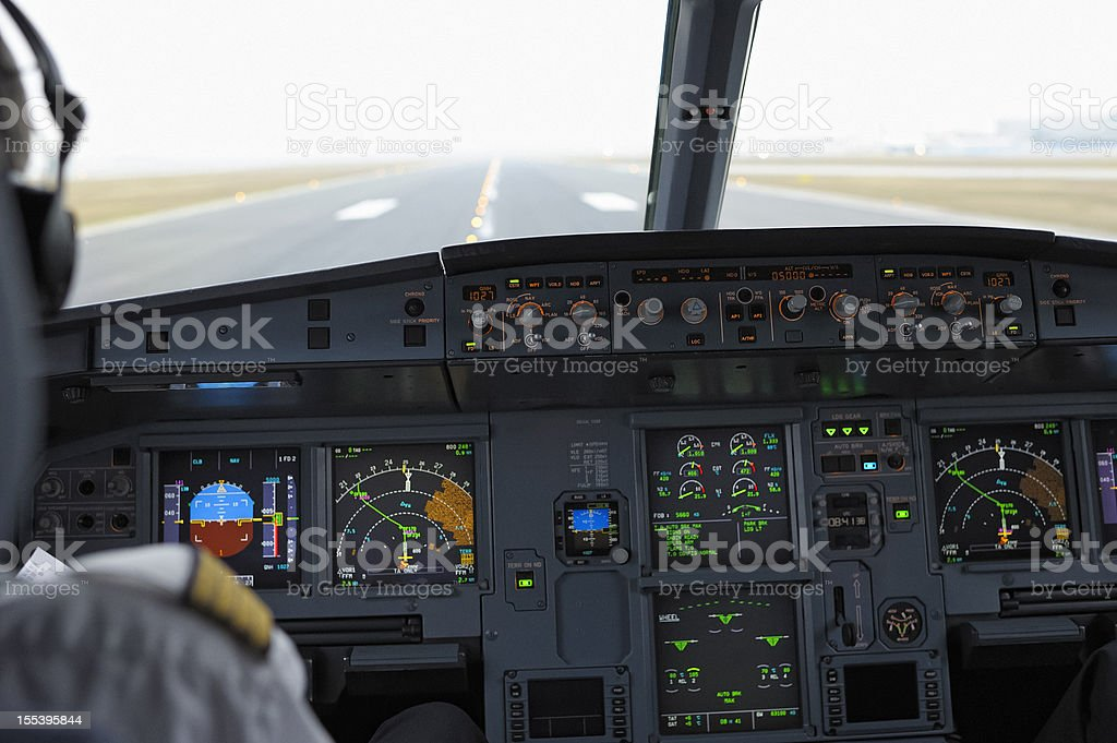 Cockpit of Airbus A320 on Runway Ready for Take-off stock photo
