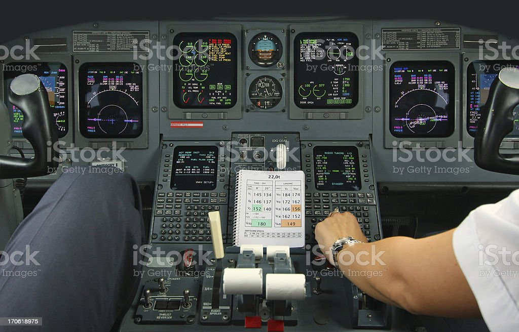 Cockpit of an airplane during a flight royalty-free stock photo