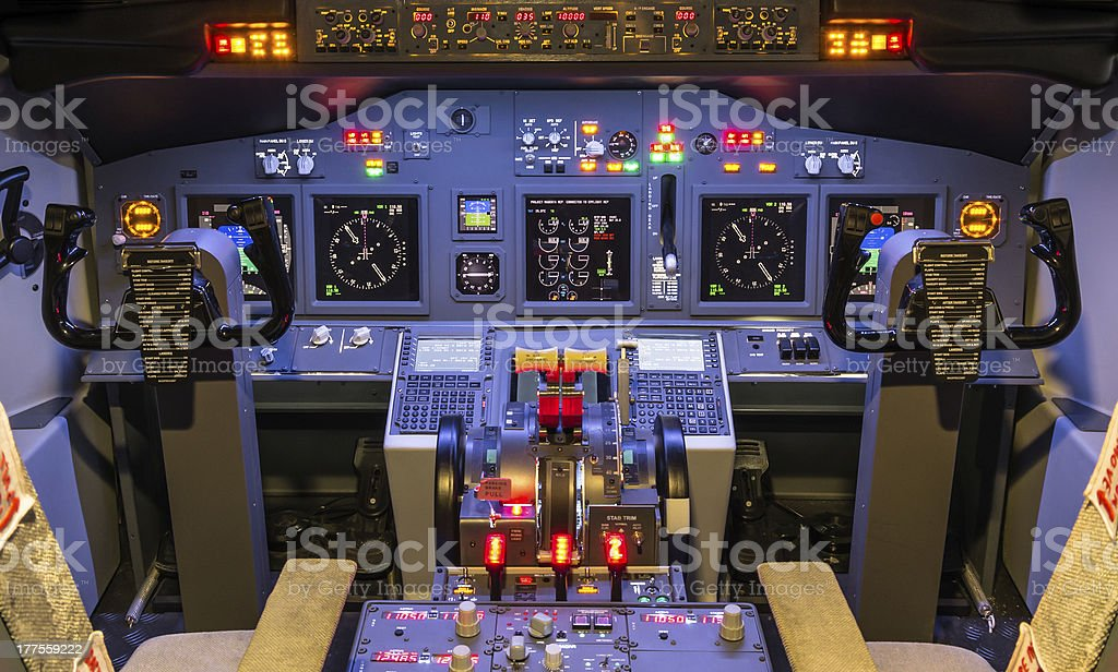 Cockpit of an homemade Flight Simulator - Boeing 737-800 stock photo