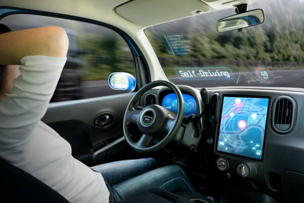 自律車のコックピット。自己運転モードとくつろいでいる女性ドライバーを実行している車両。 - 自動運転車 ストックフォトと画像