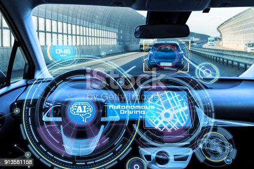 istock Cockpit of autonomous car and AI(Artificial Intelligence). Driverless car. Self driving vehicle. UGV. 913581158