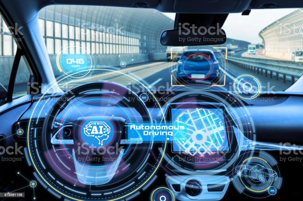 Cockpit of autonomous car and AI(Artificial Intelligence). Driverless car. Self driving vehicle. UGV. stock photo