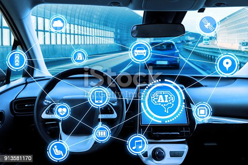 istock Cockpit of autonomous car and AI(Artificial Intelligence). Driverless car. Self driving vehicle. UGV. 913581170