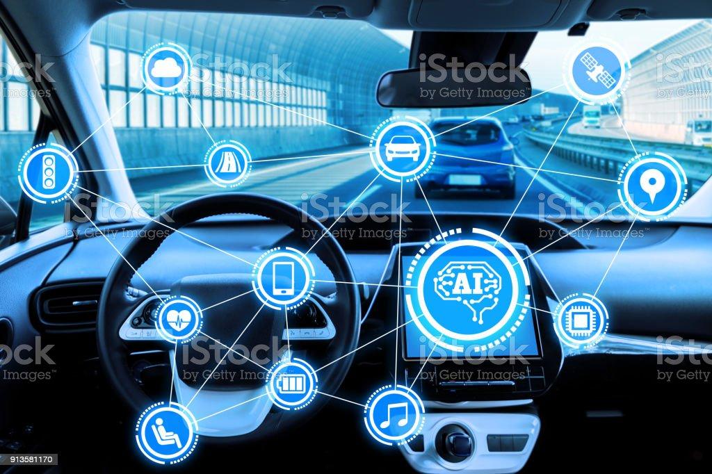 Cockpit av autonoma bil och AI (artificiell intelligens). Förarlös bil. Självkörande fordon. UGV. bildbanksfoto