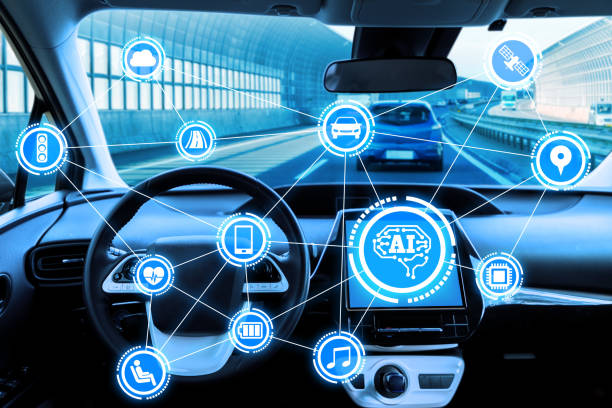 cockpit of autonomous car and ai(artificial intelligence). driverless car. self driving vehicle. ugv. - transportation icons stock photos and pictures
