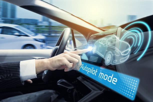 Cockpit av autonoma bil. Förarlös bil. Självkörande fordon. Head up display. bildbanksfoto