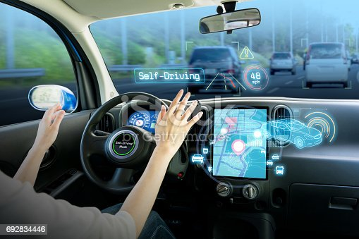istock cockpit of autonomous car. self driving vehicle hands free driving. 692834446