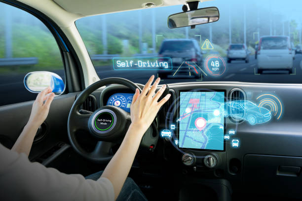 cockpit of autonomous car. self driving vehicle hands free driving. - self driving car stock photos and pictures