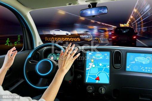 istock cockpit of autonomous car. self driving vehicle hands free driving. 693255798