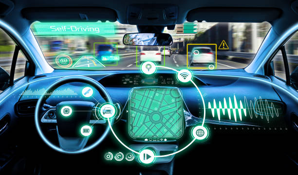 cockpit of autonomous car. self driving vehicle. stock photo