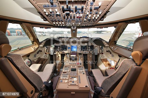 Cockpit of Boeing 747-800 of Air Bridge Cargo standing at Sheremetyevo international airport.