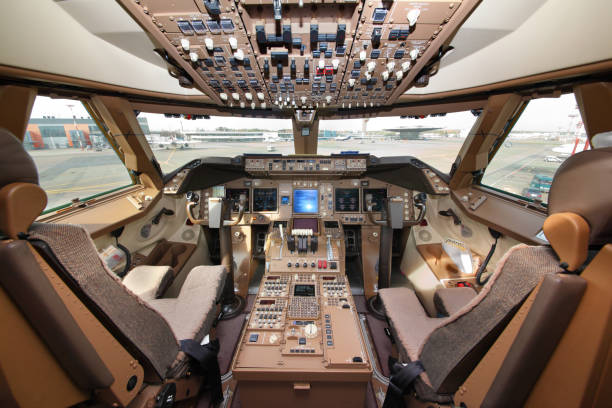 sheremetyevo, moscow region, russia - may 22, 2012: cockpit of boeing 747-800 of air bridge cargo standing at sheremetyevo international airport. - cockpit stock photos and pictures