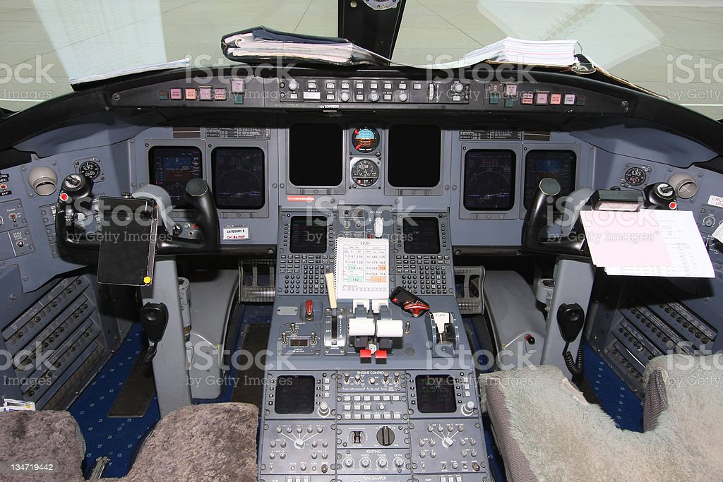 Cockpit of commercial jet with instruments royalty-free stock photo