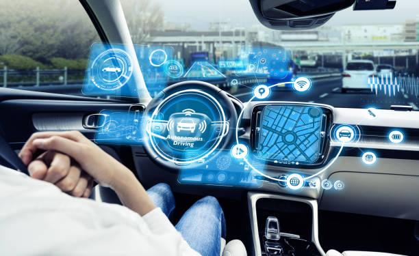 Cockpit of driverless vehicle. Autonomous car. Advanced transportation. stock photo